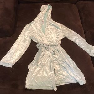 Baby blue crushed velvet robe.
